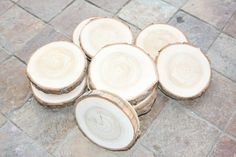 Hand Made Rustic Wooden Coasters from Birch wood or larch (Tamarak wood) with cork backing via Etsy