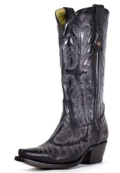 Corral Black Picasso Fancy Stitched Snip Toe Boot  #cowgirl #countrygirl #boots #cowgirlboots #cowgirlshoes  http://www.islandcowgirl.com