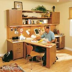 Create a compact home office center with a desktop and swing-out work area, plenty of drawers and storage, open bookshelves, a large bulletin board and an easy cord organizer.