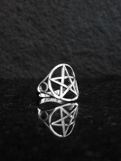 by Elfscraft on Etsy Geeks, Pentagram Necklace, Steampunk, Wiccan, Pagan, Golden Jewelry, Celtic Symbols, Pentacle, Boho