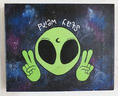"Alien Canvas, ""Stay Weird,"" Quote Canvas, Galaxy Print Canvas"
