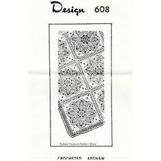 Mail Order Crochet Afghan Pattern Design 608 -  Large Flower Blocks - Vintage Knit Crochet Pattern Shop