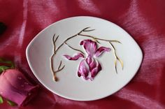A sweet vintage Carlton Ware butter dish or trinket dish featuring a raised deep pink orchid and gold detail. This would make a lovely gift. by Alexsprettyvintage on Etsy