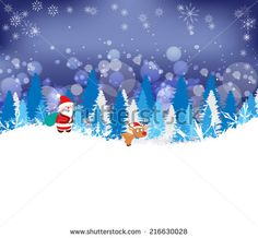 Winter forest background with deer and santa claus