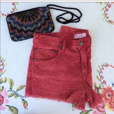FREE PEOPLE red corduroy shorts NEVER WORN. Free people comfortable red corduroy shorts. Love the color, texture, and look but unfortunately they're too big on me. Free People Shorts