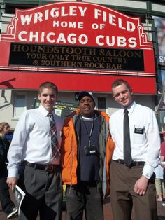 """This photo was sent in by Elder Cook [left] and Elder Davis [right]. They wrote about their StreetWise Vendor Sam Sanders. """"We had the opportunity to meet up with Sam around Wrigleyfield, his personality was great and he was more than willing to help us out and get  around because we are new to the area. Thanks for sending great vendors, especially Sam."""""""