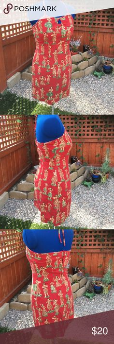 Vintage Sideout Hula Girl Dress, sz L/8 Super cute juniors size large dress will hug a size 8 nicely. Vintage cotton shows signs of washing, but does not take away from the look. Sideout Dresses Mini