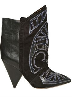 Isabel Marant - 120mm Embroidered Suede & Leather Boots thestylecure.com
