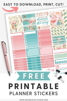 Every Planner Girl Must-Have Stickers Kit! — Design Lovely Studio Free Planner, Happy Planner, Summer Planner, Planner Decorating, Planner Layout, Printable Planner Stickers, Erin Condren Life Planner, Spreads, Planners