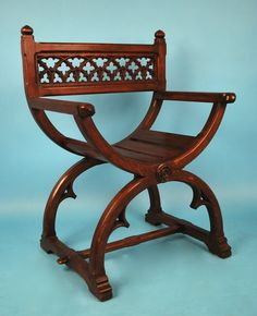View this item and discover similar for sale at - An English Gothic Revival oak Glastonbury armchair, the back pierced with tracery decoration over curule supports, circa Egyptian Furniture, Unusual Furniture, Victorian Furniture, Deco Furniture, Vintage Furniture, Furniture Design, Furniture Chairs, Furniture Ideas, Oakwood Furniture