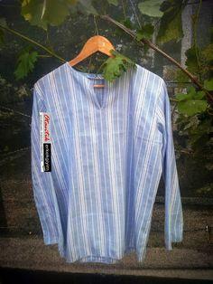 Otantik Mavi Beyaz Çizgili Şile Bezi Gömlek - OG160517   Otantik Erkek Giyim