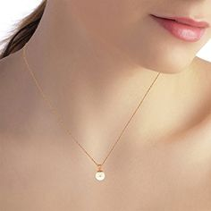 """14k 20"""" Rose Gold Necklace with Freshwater-cultured Pearl. Manufacturer's appraisal is available upon request. Item comes with tag without retail price. Tag with retail price is available upon request. Matching sets are available Item # 2980, 2551, 2216, 1552 and 1181. Gemstone is natural and may vary in color. Picture may appear bigger than the actual item. Please read the product description and specifications. June birthstone. Elegantly presented in a black velvet jewelry box. Made in…"""