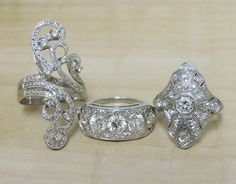 Gold & Diamond Rings: http://thejewelryboxlf.com/new-arrivals #EstateJewelry #Vintage #Antique #Swirl #Style #Unique #Jewelry #jewelryjunkie