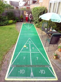 outdoor games   30 foot Outdoor Shuffleboard Poly Court package
