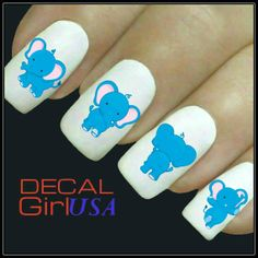 Nail Art Decals 32 Elephant Nail Decals by DecalGirlUSA on Etsy, $3.99