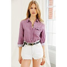 Urban Renewal US Rags Oxford Shirt Tunic (40 CAD) ❤ liked on Polyvore featuring tops, tunics, purple, oversized tunic, purple tunic, relaxed fit tops, woven top and oxford shirt