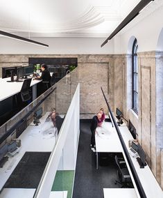 With the team getting bigger as the projects roll in, LEMAYMICHAUD expands office space to the building nest door, where modernity flirts with the past. Architecture Design, City Office, Quebec City, The Expanse, Building, Canada, Home Decor, Green Marble, Desk