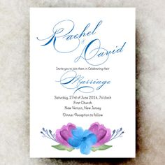 Dazzling Blue Wedding Invitation - Watercolor wedding, Beach Wedding, Navy Blue wedding, 2014 Wedding Trend