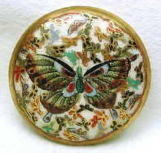 Antique Meiji Satsuma Button (Vintage Ceramic Buttons, Thousand Butterflies Design w/ Backmarks)