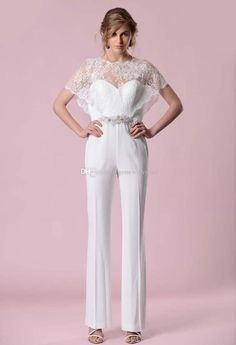 2017 Jumpsuit Wedding Dreses With Lace Warp Cape Sweatheart Neckline Cystal Belt Zipper Back Brida Gowns Chiffon Wedding Dress Chinese Wedding Dress From Gonewithwind, $301.51| Dhgate.Com