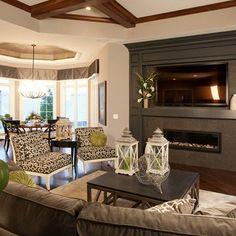 Black fireplace mantel looks best for tv