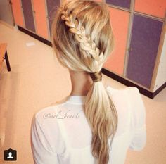 Lacebraid into a ponytail