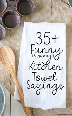 Funny Kitchen Towel Sayings for Crafters - Cutting for Business List of funny kitchen sayings for crafters to use when making tea or flour sack towels with heat transfer vinyl or screenprinting. Great if you have a Silhouette Cameo or Cricut Explore. Les Artisans, Cricut Tutorials, Cricut Ideas, Cricut Craft, Card Tutorials, Sewing Tutorials, Flour Sack Towels, Flour Sacks, How To Make Tea