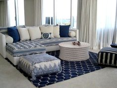 Salon bleu d'inspiration marocaine