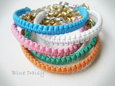 Gimp and Chain, via Etsy. Gimp Bracelets, Bracelet Crafts, Friendship Bracelets, Diy Jewelry, Jewelry Making, Unique Jewelry, Jewlery, Crafts To Make And Sell, Diy And Crafts