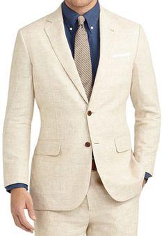 Subtle detail + Brooks Brothers. It's a win-win. Madison fit plaid linen suit, $488.60 at