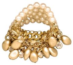 """Pearl Statement Bracelet Classy Chic Elegant Wide Gold Chain 4 row 7.25"""" to 7.75"""". Get the lowest price on Pearl Statement Bracelet Classy Chic Elegant Wide Gold Chain 4 row 7.25"""" to 7.75"""" and other fabulous designer clothing and accessories! Shop Tradesy now"""