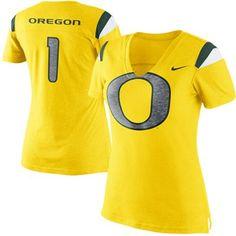 Nike Oregon Ducks Ladies Replica Premium V-Neck T-Shirt - Yellow... Size small