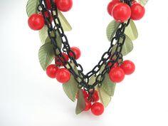 Bib Necklace. Bakelite Style Cherries. Double by bohemiantrading