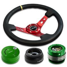 "6-HOLE STEERING WHEEL 1-CLICK PIN SLIM 1.5/"" QUICK RELEASE HUB ADAPTER KIT BLACK"