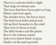 There Is A Solemn Wind Tonight by Katherine Mansfield. Katherine Mansfield, Poetic Words, Pomes, Stress, Waxing Poetic, Poems Beautiful, Seasons Of Life, Writing Poetry, Spoken Word