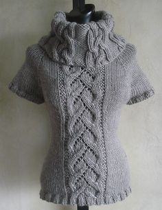 Ravelry: #90 Chic Cables and Lace Cowl Neck pattern by SweaterBabe I love short sleeve cowls. Great look in fall and winter but not too warm. SweaterBabeKnittingGiveaway