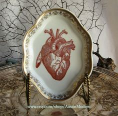 Reserved for Wendy - Anatomical Heart Plate Altered vintage Dish Chase and Scout. $38.00, via Etsy.