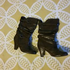 REPOSH - Dark Brown Boots 1.5 inch heels, goes to mid calf, very cute but I am just a wuss abut heels :-) worn only 2x unknown Shoes Heeled Boots