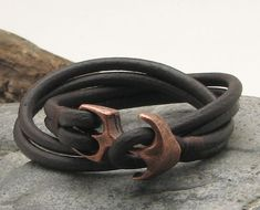 FREE SHIPPING Unisex leather bracelet Dark brown by eliziatelye, $26.00