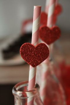 Love these pink chevron straws with red sparkly hearts.