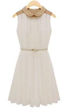 Sleeveless Belt Pleated Chiffon Dress