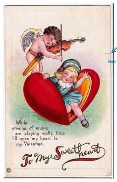 Valentine Cupid Plays Violin for Girl in Heart Postcard Victorian Valentines, Vintage Valentine Cards, Vintage Greeting Cards, Vintage Postcards, Vintage Images, Valentines For Kids, Valentine Day Crafts, Happy Valentines Day, Valentine Ideas