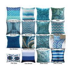 The Ocean Collection Pillow Covers, Aqua Decorative Throw Pillow Cover, Bead, Sequins Ocean, Sea Themed Pillows, Lumbar Pillows, Bed Runner