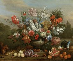 Jakob Bogdany (1660-1724) — Still Life with Flowers in a Silver Urn, Fruit, a Parrot and Squirrel (1600×1325)