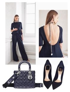 """""""Anna Vedeneeva Couture """"Navy blue"""""""" by annavedeneeva ❤ liked on Polyvore featuring Christian Dior"""