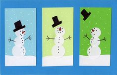 """Students can learn how to make their snowman card come to """"life"""" by altering where the face and buttons are placed on the body."""