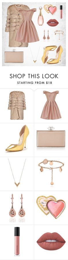 """""""Romantic&Elegant"""" by merimasworld ❤ liked on Polyvore featuring AINEA, Chi Chi, Office, Judith Leiber, Louis Vuitton, Too Faced Cosmetics, Bare Escentuals, Lime Crime and Christian Dior"""