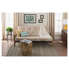 bergen wood arm futon with 6 coil mattress full tan linen dhp black
