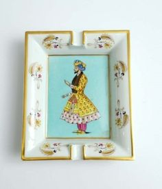 Fine decorated porcelain ashtray by Hermes; Circa 1975 1.5H, 6.25W, 7.5D