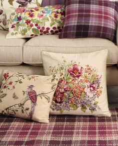 Emblazoned in a beautiful floral print, our Flower Show cushion will look fantastic placed on any sofa or armchair. Laura Ashley Cushions, Rustic Chic, Shabby Chic, Floral Cushions, Vintage Cushions, English Cottage Style, Laura Ashley Home, Purple Interior, Romantic Homes
